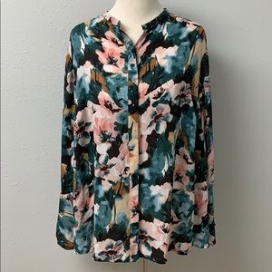 Lucky Brand Boho Floral Split Bell Sleeve Top